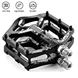 LYCAON Bike Bicycle Pedals, Light Aluminum Alloy Casting Body, 2DU Sealed Bearing Pedal for 9/16 MTB BMX Road Mountain Bike Cycle (Black, Aluminum-Color)