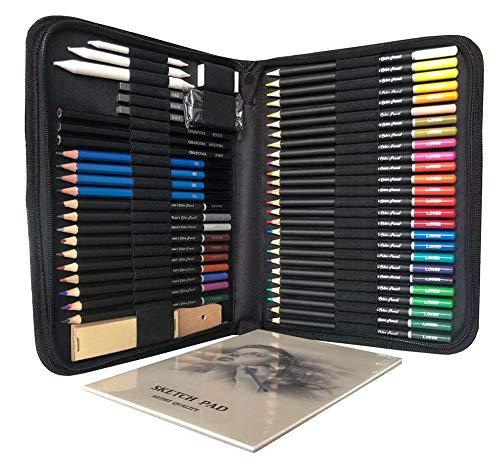 LAIDEPA Matite da Disegno Professionali 55 Matite Colorate Matite da Disegno E Accessori Set di Materiali Artistici, Set Ideale per Penna da Colorare per Adulti E Strumento per Dipingere I Bambini,A