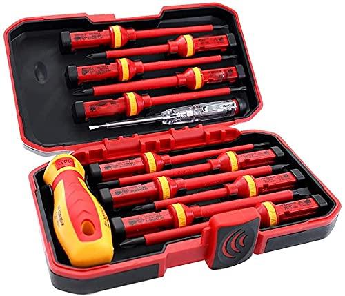 SYCK Destornillador Aislado Conjunto de Electricista, Consejos de imán Herramientas de reparación reemplazables Caja de Kit 13pcs