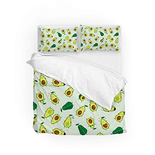 Lafle Duvet Cover with Pillowcase Cute Avocado Polyester Bedding Set King Size