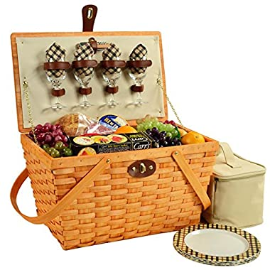 Picnic at Ascot Settler Traditional American Style Picnic Basket with Service for 4 - London Plaid