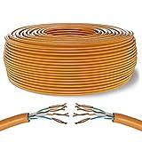 Mr. Tronic 50m Cable de Instalación Red Ethernet Bobina | CAT6, AWG24, CCA, UTP | LAN Gigabit de Alta Velocidad | Conexión a Internet | Ideal para PC, Router, Modem, Switch, TV (50 Metros, Naranja)