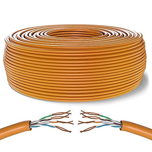 Mr. Tronic 100m Ethernet Netzwerk Netzwerkkabel | Datenkabel Installation | Installationskabel | Verlegekabel | CAT6, AWG24, CCA, UTP, RJ45 | LAN Kabel Gigabit Internet Netzwerke (100 Meter, Orange)