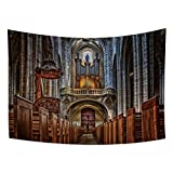 OERJU 70.9x63.0 inches Church Tapestry Cathedral Holy Western Building Royal Christ Jesus Sacred Divine Wall Tapestry for Bedroom Room Decoration College Dorm Bed Cover Picnic Beach Blanket