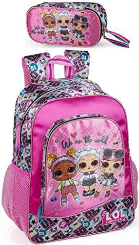 LOL Surprise Rucksack und Federmäppchen Mädchen Kinderrucksack Mäppchen Schultertasche Kramtasche L.O.L. Puppen