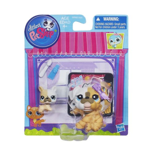 Littlest Pet Shop Figures Bulldog & Baby Bulldog