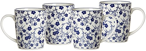 Ritzenhoff & Breker Kaffeebecher-Set Royal Sakura, 4-teilig, 350 ml, Porzellangeschirr, Blau-Weiß