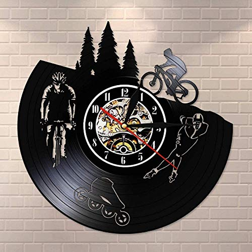 XINKONG Todoterreno del vehículo moderno disco de vinilo Mute reloj de pared de cuarzo del patinaje sobre ruedas del reloj de pared de la bici del patinador entusiasta de los deportes regalo de la dec