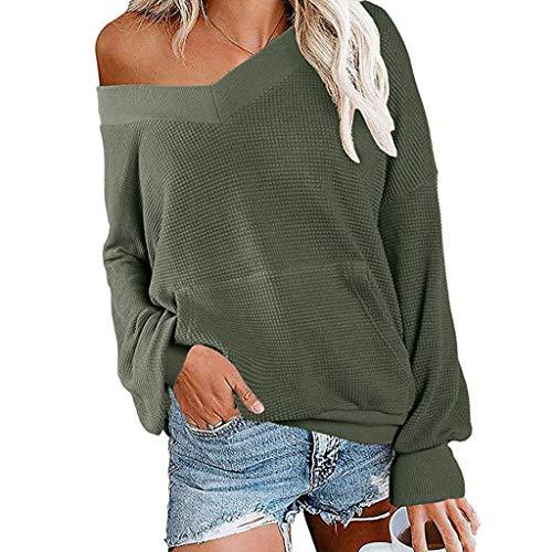 Damen Pullover V-Ausschnitt Langarm Einfarbig Shirt Oberteile Hemd Sweatshirt Tops Loose...