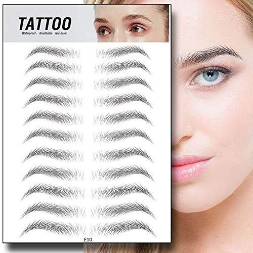 HUVE 44 Paires 4D Sourcils Autocollants Tatouage Ressemblant À des Cheveux Sourcils Authentiques Longue Durée sans Dommage Sourcils Autocollants Maquillage Shaper Set Maquillage Outil Cosmétique