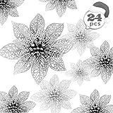 Zaloife Poinsettia Adorno, 24 Brillante Flores de �rbol de Navidad Colgantes Navidad Adornos, Flores de Navidad Boda, Artificial �rbol de Navidad Guirnaldas, Decoración de �rbol de Navidad (Plata)