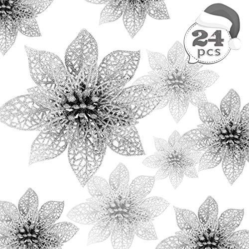 Weihnachten Blumen, 24 Glitter Weihnachtsblumen, Hohle Glitzer Weihnachtsblume, Poinsettia Weihnachtsbaum Künstliche Blumen Dekor Ornament, Dekoration für Hochzeit, Party, Weihnachten (Silber)