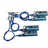 Ubit Pcie Riser, 6 Pin 1x a 16x Pcie Riser Board con Pcie USB 3.0 Card, Cable USB 3.0 de 60 cm, 6 Pin TO SATA Power Cable - Dedicado a Ethereum Bitcoin Crypto Currency Mining