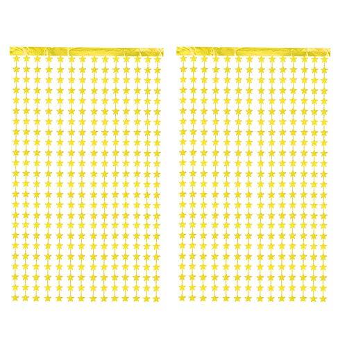 CozofLuv 2 Packung Metallic Tinsel Vorhänge, Folie Fringe Schimmer Vorhang Tür Fenster Dekoration für Geburtstag Hochzeit (Gold Stern)