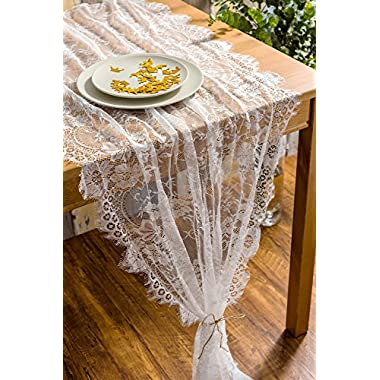 Crisky 32  x 120  Lace Table Runners for Wedding Lace Overlay with Rose Vintage Embroidered Rustic Wedding Reception Decor, Bridal Shower Decoration, Vintage French Country Farmhouse Decor