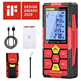 Laser Measure 196Ft, 99 Sets Data Storage, POPOMAN Laser Distance Meter with USB charging, M/In/Ft with Electronic Angle Sensor, 2.25' LCD Backlit, Measure Distance, Area and Volume - MTM120B
