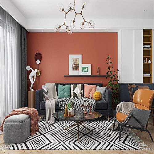 Papel de Pared 3D, Color sólido Papel Pintado No Tejido naranja Relieve, en Rollo, para Sala de Estar Habitación Cocina Comedor Fondo de TV 0.53m x 9.5m
