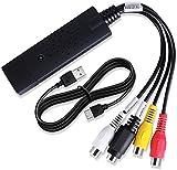 QNODO Convertitore di File digitali USB 2.0,conversione di schede di acquisizione Video USB Hi8 VCR VHS e Modifica Audio-Video,Nuova Versione Compatibile con Windows 2000/XP/Vista/Win 7/8/8.1/10