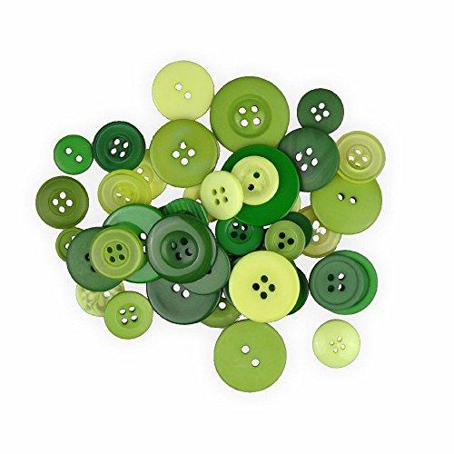 Knöpfe Mix Grün 30 g zum Basteln - sortiert in verschiedenen Größen und Farben - ideal zum Basteln, Nähen und für Scrapbooking