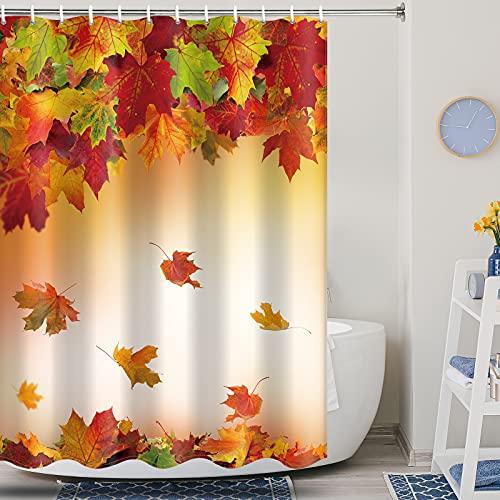 Autumn Shower Curtain Modern Farmhouse Shower Curtain Fall Maple Leaf Shower Curtain Fallen Leaves Shower Curtain Waterproof Bathroom Bath Curtain Set with 12 Hooks