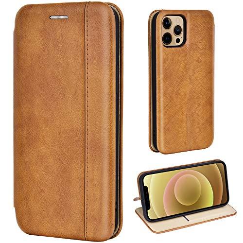 Leaum Handyhülle für iPhone 12 Hülle, iPhone 12 Pro Hülle Leder Flip Case Tasche Schutzhülle, Braun