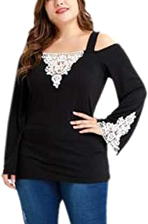 Elogoog Womens Long Sleeve Cold Shoulder Tops Lace Plus Size Casual Tunic Shirt