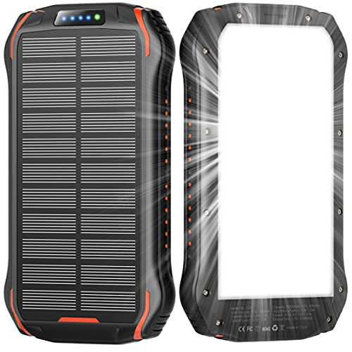 Solar Power Bank,Solar Charger 26800mAh,Solar Panel Charger with LED Flashlights and 3 USB Output Ports External Backup Pack for Camping Outdoor Solar Phone Charger for iPhone,Android,Cell Phones