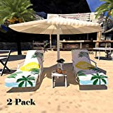 Lmeison Beach Chair Cover with Side Pockets, 2Pack Microfiber Chaise Lounge Towel with Storage Pockets for Pool, Sun Lounger, Hotel, Vacation, Holidays Sunbathing, Summer Coconut (84.6' x 29.5')
