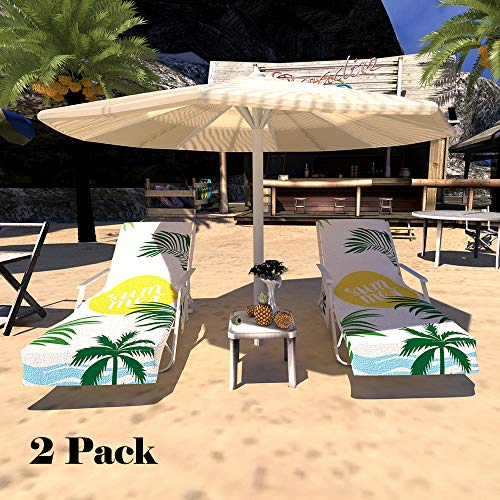 """Lmeison Beach Chair Cover, Chaise Lounge Towel Cover Beach Towel with Storage Pockets for Pool, Sun Lounger, Hotel, Vacation, Holidays Sunbathing, Purple Tie-Dye (82.5"""" x 29.5"""")"""