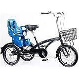 Triciclo para adultos Triciclo adulto 3 rueda bicicleta 16 pulgadas, bicicletas de tres ruedas para adultos mayores mujeres hombres principiante triciclo con asiento para niños, freno trasero, bicicle