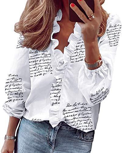 HenzWorld Camiseta Blanca de Manga Larga con Estampado de Letras para Mujer Blusa Informal con Cuello en v Blusa Informal con Puños Elásticos para Mujer Túnica con Volantes Talla M