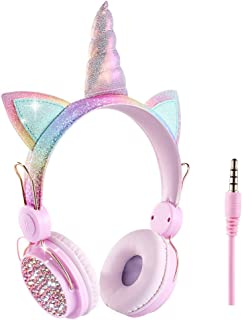 Unicorn Kids Headphones,Wired Over Ear Cute Girl Headsets for Children/Christmas/Parties/Birthday Gifts (Unicorn)