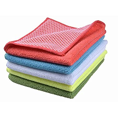 Wefive Microfiber Dish Cloth Kitchen Cloths Towels Cleaning Cloths With Poly Scour Side 12 x12  (5 Pack)