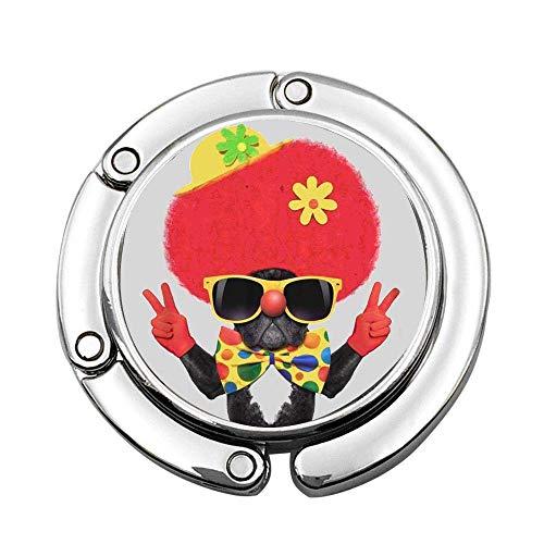 Colorido Perro Tonto con Disfraz de Payaso Peace Victory Fingers Bolso de Mano Plegable Personalizado Gancho para Colgar Monedero