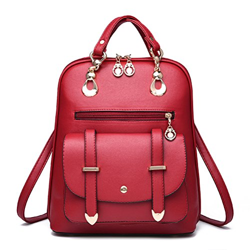 YIMOJI Elegante borsa per donne e ragazze, in pelle sintetica, stile casual, utilizzabile anche come zainetto da viaggio, nero (Wine red), L