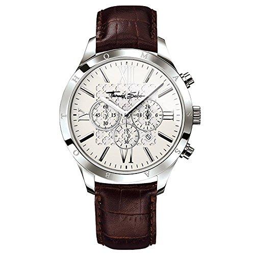 THOMAS SABO Herren Chronograph Quarz Uhr mit Leder Armband WA0016-212-201-43 mm
