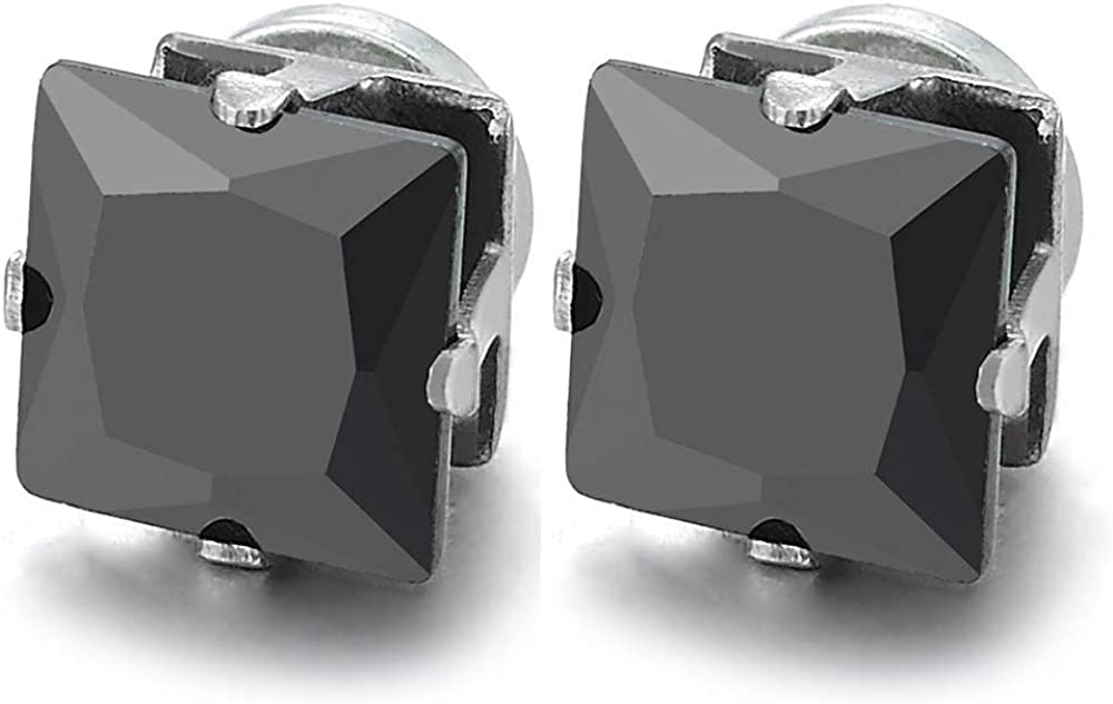 Mens Womens 7MM Square Black Cubic Zirconia Magnetic Stud Earring, Non-Piercing Clip On Fake Gauges