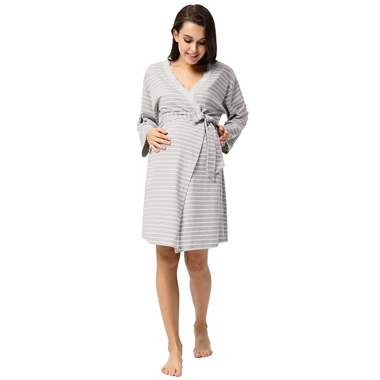Comhere Maternity Bathrobes,Pregnancy Labor Robe Delivery Hospital Nursing Nightgowns Sleepshirts for Breastfeeding