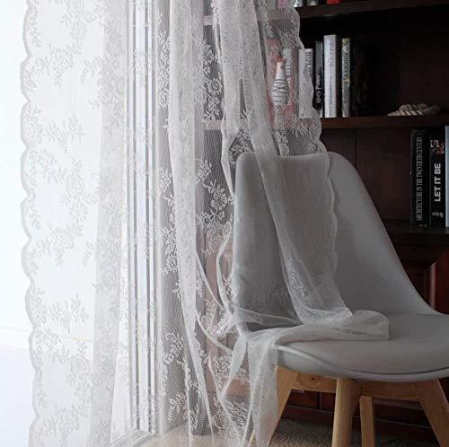 Mr.T Fliegengitter Tür Spitzenvorhänge, Halb Schiere Verbandsmull amerikanische Land-Art for Wohnzimmer Balkon Invisible Sand Vorhang (Color : White, Size : 145x270cm(57x106inch))