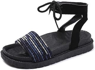 Inlefen Female Summer Peep Toe Back Hollow Strappy Flat Thicken Bottom Sandals