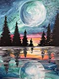 5D Diamond Painting Kits for Adults Kids,Bright Moon Full Drill Diamond Art Painting by Number Kits,Perfect for Relaxation and Home Wall Decor(Size, 12x16inch)