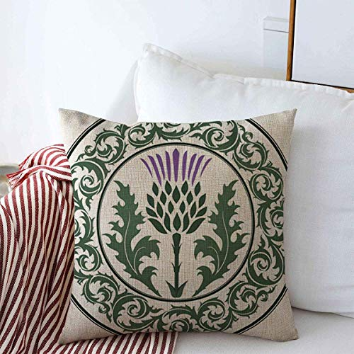 Starojan Throw Pillows Cover 20 x 20 Inches Green Curl Scottish Thistle Flower Round Leaf Nature Purple Scotland Heraldic Pattern British Celtic Cushion Case Cotton Linen for Fall Home Decor