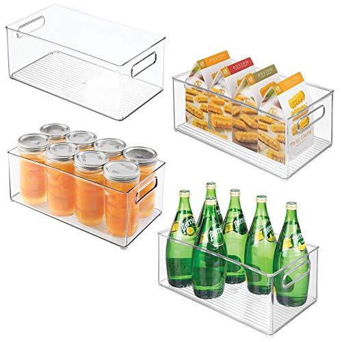 mDesign Juego de 4 cajas de almacenaje para nevera y congelador – Envases de plástico para alimentos – Prácticos contenedores de plástico apilables con asas incorporadas – transparente