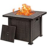 """Giantex 30"""" Gas Fire Table 50,000 BTU Square Propane Fire Pit Table with Lid and Lava Rocks"""