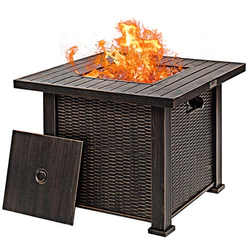"Giantex 30"" Gas Fire Table 50,000 BTU Square Propane Fire Pit Table with Lid and Lava Rocks CSA and ETL Certification (Brown)"