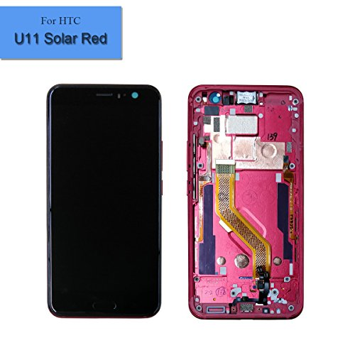 for HTC U11 Solar Red New Touch Screen Display LCD 5.5 Inches + Edge Sense 2K Resolution with Frame
