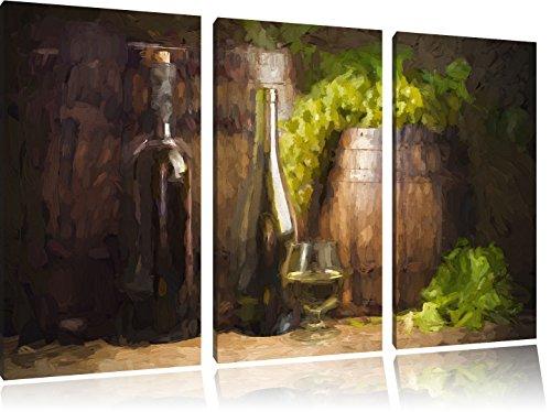 Vaten met druiven en wijnFoto Canvas 3 deel | Maat: 120x80 cm | Wanddecoraties | Kunstdruk | Volledig gemonteerd