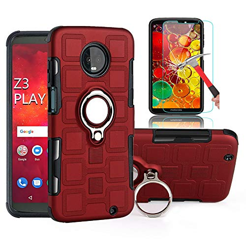 Moto Z3 Play Case,Moto Z3 Case with HD Screen Protector, EDSAM Dual Layer Shockproof Case with 360 Degree Rotating Ring Kickstand Fit Magnetic Car Mount for Motorola Moto Z3 Play/Moto Z3 (Red)