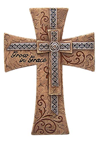 Grow in Grace Hanging Wall Cross, Celtic Decoration Christian Wall Art for Kitchen, Living Room,12 Inch