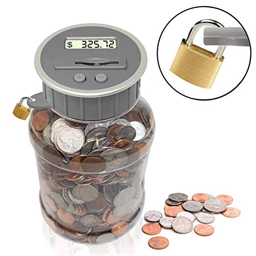 Locking Digital Coin Bank Savings Jar - Pennies Nickles Dimes Quarter Half Dollar Change Counter   Clear Jar with LCD Display